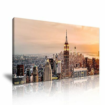 Frame Modern New York Manhattan Sunset Skyline Canvas Wall Art Picture Print
