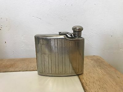 Vintage Silver Whiskey Flask Curved Curvex Personalize with you Initials!! Rare