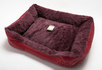 LARGE Soft Comfy REX LEATHER & FUR Washable Dog Pet Cat Warm Basket Bed RED