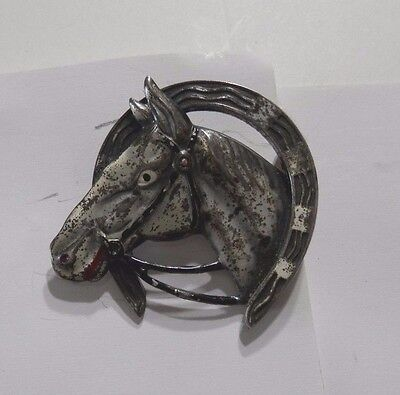 Vintage Sterling Silver Horse in Lucky Horseshoe Brooch/Pin