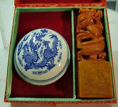 "Boxed chinese NAME STAMP STONE & DRAGON DESIGN INK BOX w ""SCHRAM"" SEAL"