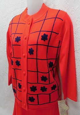 "Nwt 60's Vintage ""original Imports"" Knit 3-Pc Ladies Suit-Red W/navy Embroidery"