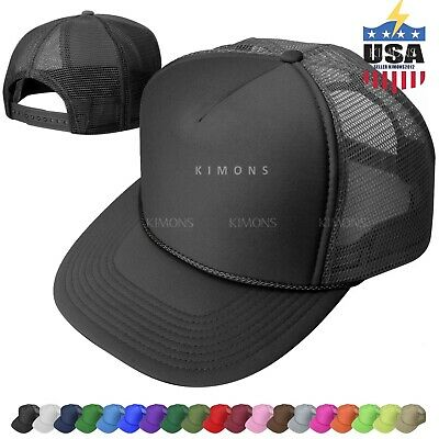dee49f4b Trucker Hat Foam Mesh Baseball Cap Adjustable Snapback Solid Plain Men Hats  Flat