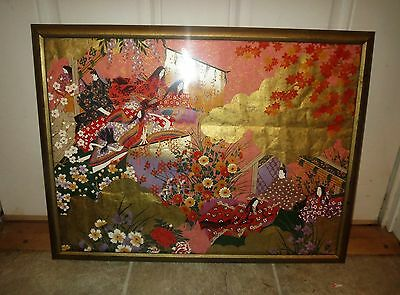 Large Antique Japanese Gold Leaf BLOCK SCROLL PRINT Painting - EXQUISITE