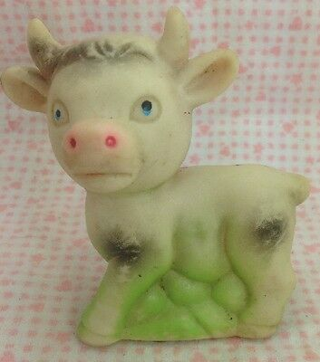 Vintage Baby Toy Bull Cow Squeaker Squeaky Taiwan Dog Green Base