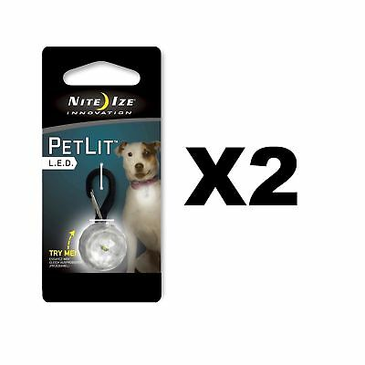 Nite Ize PetLit LED Collar Clear Jewel Stylish Safety w/Carabiner Clip (2-Pack)
