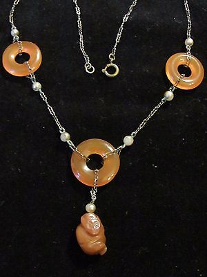 Antique Chinese White, Orange Coral & Jade Necklace