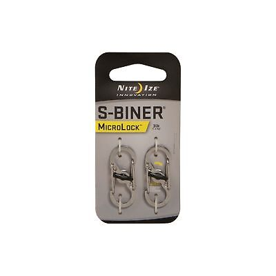 Nite Ize S-Biner MicroLock Stainless 2-Pack Locking Carabiner for Keychains