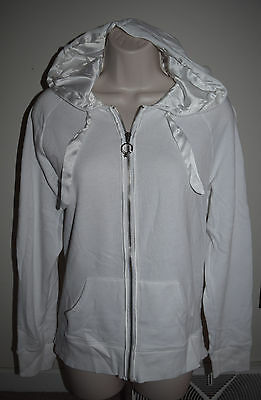 I Do, Victoria's Secret Cotton/Polyester Zip Up Hoodie Size Large, White