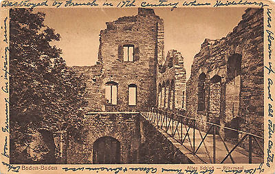 Vintage Postcard -The Old Castle Rittersaal - Baden-Baden - Germany BW Picture