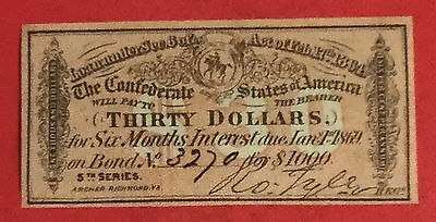 1864 $30 US Confederate States of America! Genuine! Choice VF! Old US