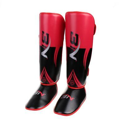 Pro Karate MMA Muay Thai Training Shin Instep Leg Foot Protector Guard Red