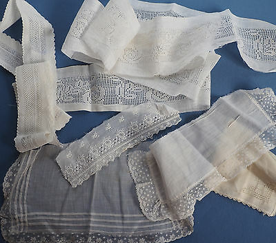ANTIQUE LACE LOT FILET ROSE EMBROIDERED Cotton FRENCH Tulle Vintage Embroidery