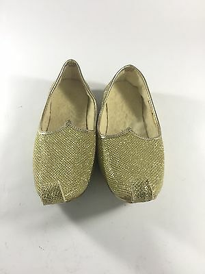 Metallic Gold Glitter Elf Shoes Genie Curly Toes Kids Costume Handmade Small