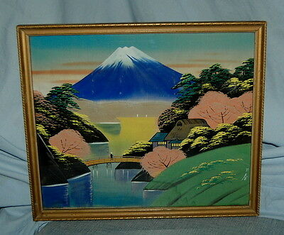Beautiful Lovely Colors Vintage Japanese Silk Type Painting Mt Fuji Japan Framed