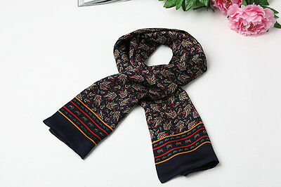 Long Silk Satin Scarf for Men Navy Theme Paisley Pattern SFM013