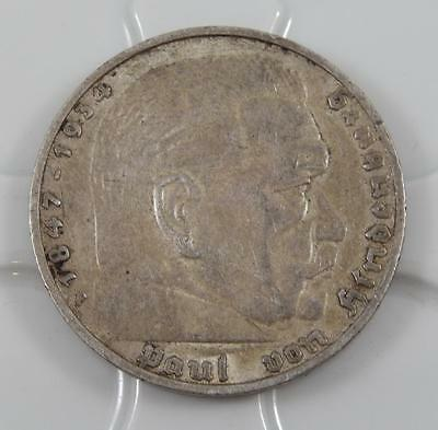 1937-F Germany Third Reich 5 Reichsmark Mark Silver Coin A0657