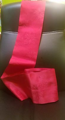 Red Japanese Obi with Flower Print