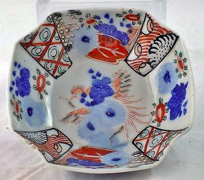 Antique Japanese Imari Zodiac Offering Bowl Red Gold Blue Rooster Flowers