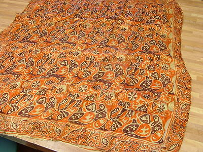 "Vintage 100% Silk Square Orange Brown Scarf Hand Rolled 35"" Gypsy Floral"