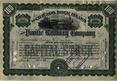 Chicago Rock Island & Pacific Railway Stock Certificate Railroad Green