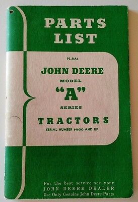 John Deere Model A Tractor Parts List PL-RA3 Manual Book Vintage