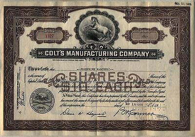 Colt's Manufacturing Company Stock Certificate