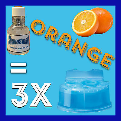 3 Orange Braun Clean & Renew Cartridge Refills for ALL Clean and Renew Shavers!