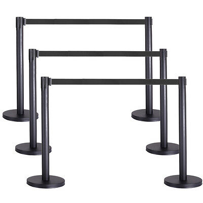 6 PCS Crowd Control Barrier Stanchion Posts Queue Pole Retractable Black Belt
