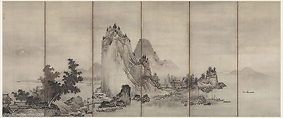 Japanese antique screen painting Sumi Ink Sansui Water Mountain landscape 2