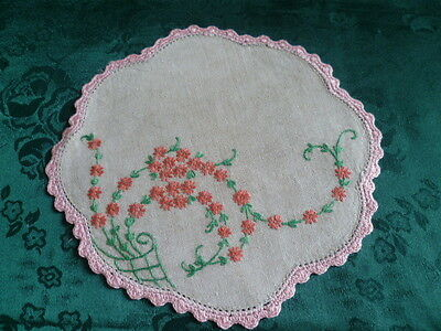 Vintage Hand Embroidered Small Floral Doiley Pink Crocheted Edge