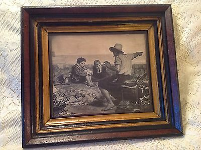 """Antique 10 X 12"""" Wood Frame With Litho Print """"the Boyhood Of Raleigh"""""""