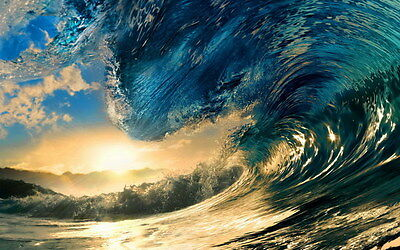 "015 GIANT WAVE - Sea Surfing 22""x14"" Poster"