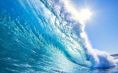 "004 GIANT WAVE - Sea Surfing 22""x14"" Poster"