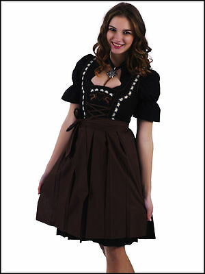 German,Trachten,Oktoberfest,Edelweiss,Dirndl Dress,3-pc.Sz.4,Brown.Embroidered