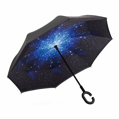 Brand New Double Layer Umbrella Folding Inverted Upside Down Revers Galaxy