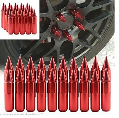 20 Aluminum Spike Tuner Extended Lug Nuts for Wheels Rims M12X1.50 60mm R