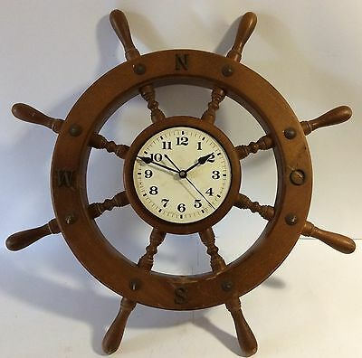 Vintage Wooden Ship wheel Clock