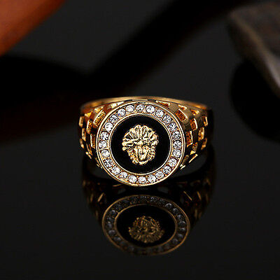 Men's Gold Plated Medusa Onyx Signet Ring Size 8,9,10,11 Wedding Ring Jewelry