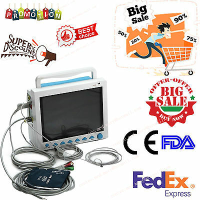 US seller ICU Patient Monitor 6 parameter Vital Sign ECG NIBP RESP TEMP SPO2 Pr