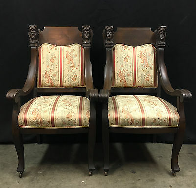 Antique Walnut French Empire Chairs Pair Hand Carved Caryatid