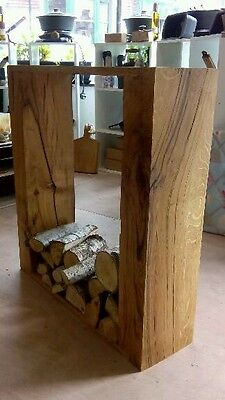 Solid oak log store  decorative fire side storage rack holder