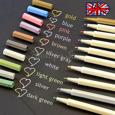 Set Of 10 Colours Waterproof Metallic Marker Pens Craft Diary Scrapbooking