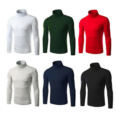 1Pcs Long Sleeve 2017 Cotton Slim Turtleneck Thermal Sweaters Stretch Shirt Mens