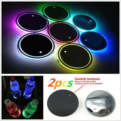 2X USB Charger 7 Colors RGB Car Cup Bottom Pad Holder Interior Atmosphere Light