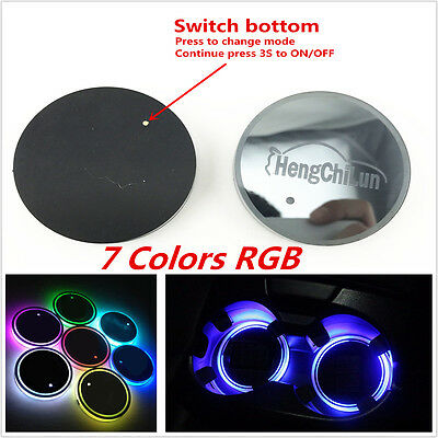 2× Universal 7 Colors RGB Car Cup Holder Bottom Pad Atmosphere Light USB Charger
