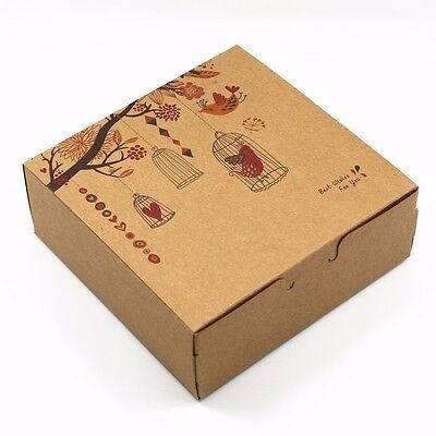 Many Sizes Brown Kraft Paper Gift Box with Flower Printed for Wedding Party