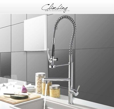 PULL OUT SPRING Kitchen Faucet Tall Brass Swivel Spout Sink ...