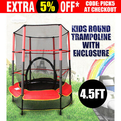 4.5FT Kids Mini Junior Round Trampoline  Safety Net 55'' Exercise With Enclosure
