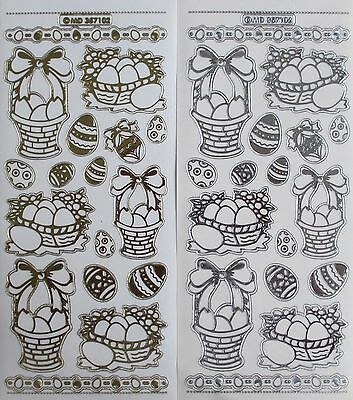 Double Embossed Clear Easter Eggs Baskets PEEL OFF STICKERS Cardmaking